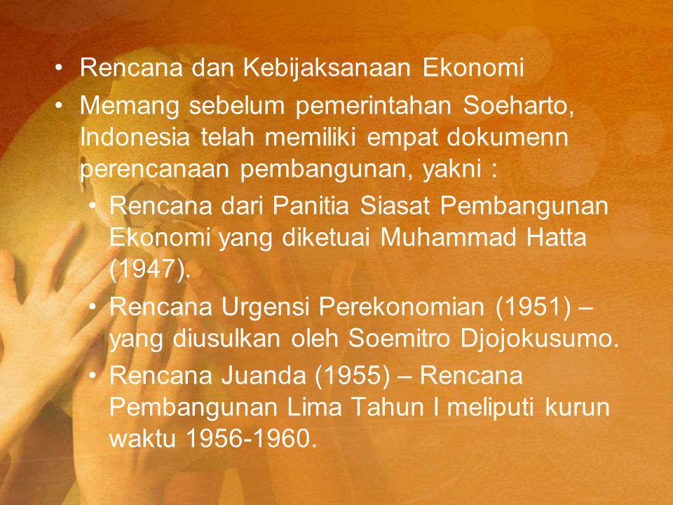 Rencana dan Kebijaksanaan Ekonomi Memang sebelum pemerintahan Soeharto, Indonesia telah memiliki empat dokumenn perencanaan pembangunan, yakni : Rencana dari Panitia Siasat Pembangunan Ekonomi yang diketuai Muhammad Hatta (1947).