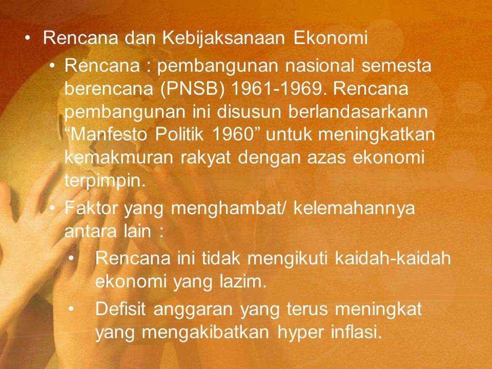 Rencana dan Kebijaksanaan Ekonomi Rencana : pembangunan nasional semesta berencana (PNSB) 1961-1969.