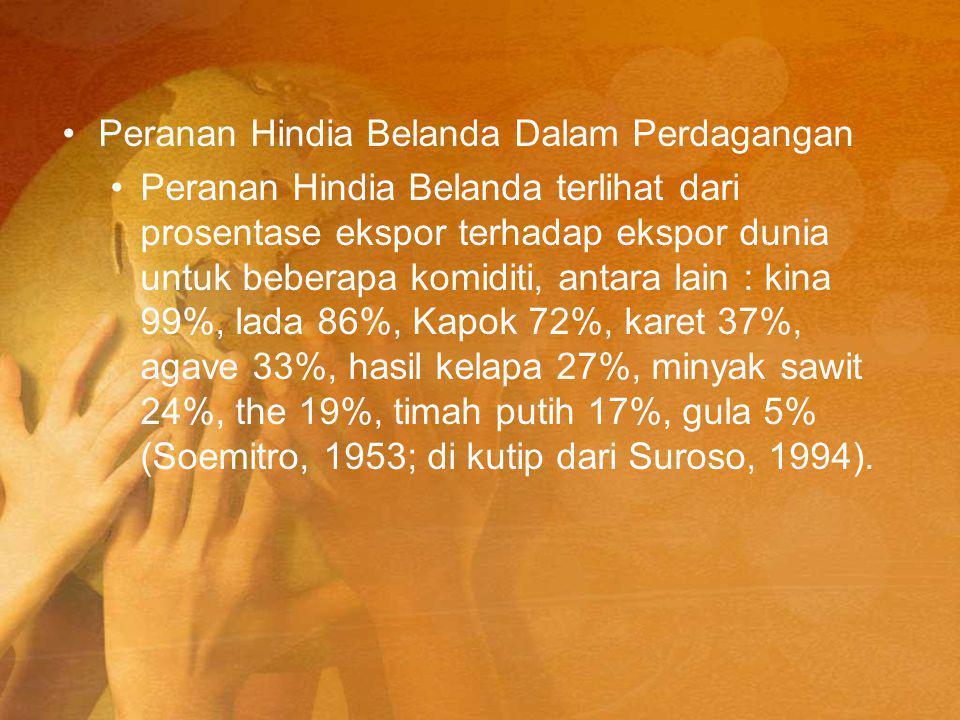 Peranan Hindia Belanda Dalam Perdagangan Peranan Hindia Belanda terlihat dari prosentase ekspor terhadap ekspor dunia untuk beberapa komiditi, antara lain : kina 99%, lada 86%, Kapok 72%, karet 37%, agave 33%, hasil kelapa 27%, minyak sawit 24%, the 19%, timah putih 17%, gula 5% (Soemitro, 1953; di kutip dari Suroso, 1994).