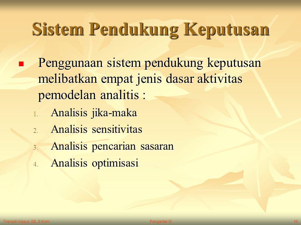 Trisnadi Wijaya, SE, S.Kom Pengantar SI10 Sistem Pendukung Keputusan Penggunaan sistem pendukung keputusan melibatkan empat jenis dasar aktivitas pemo