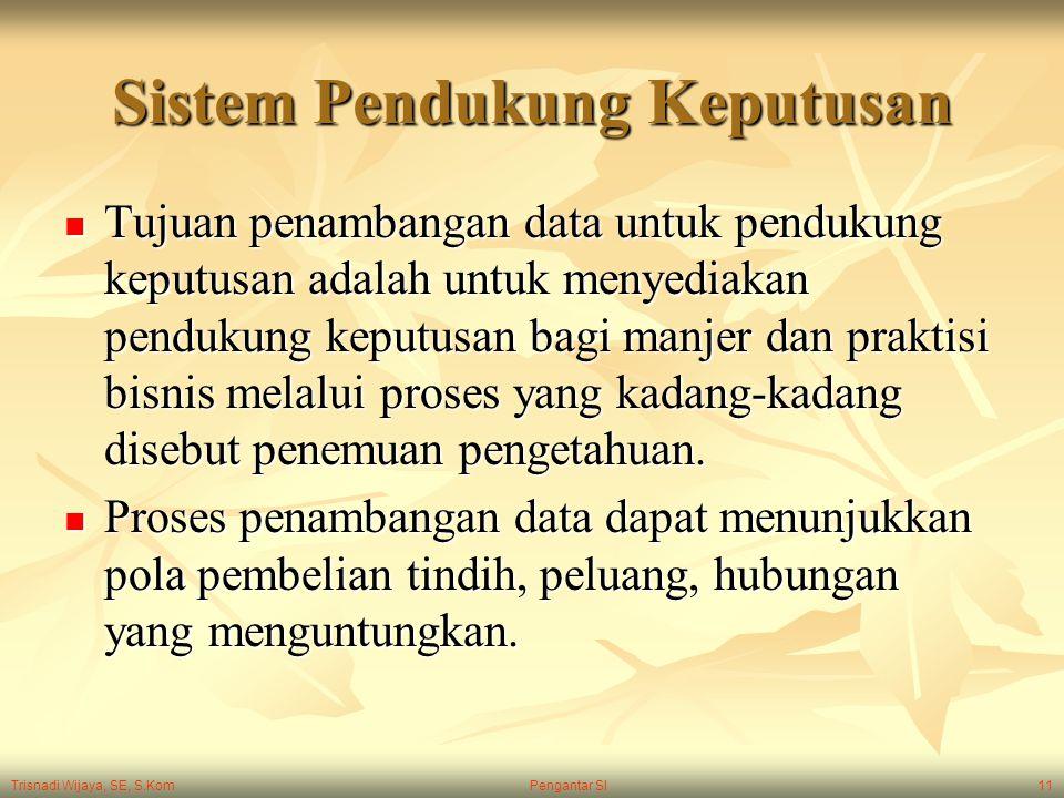 Trisnadi Wijaya, SE, S.Kom Pengantar SI11 Sistem Pendukung Keputusan Tujuan penambangan data untuk pendukung keputusan adalah untuk menyediakan penduk
