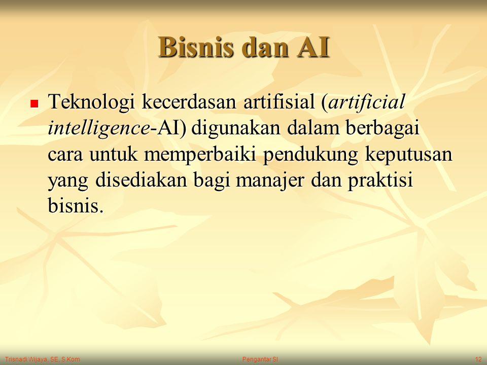 Trisnadi Wijaya, SE, S.Kom Pengantar SI12 Bisnis dan AI Teknologi kecerdasan artifisial (artificial intelligence-AI) digunakan dalam berbagai cara unt