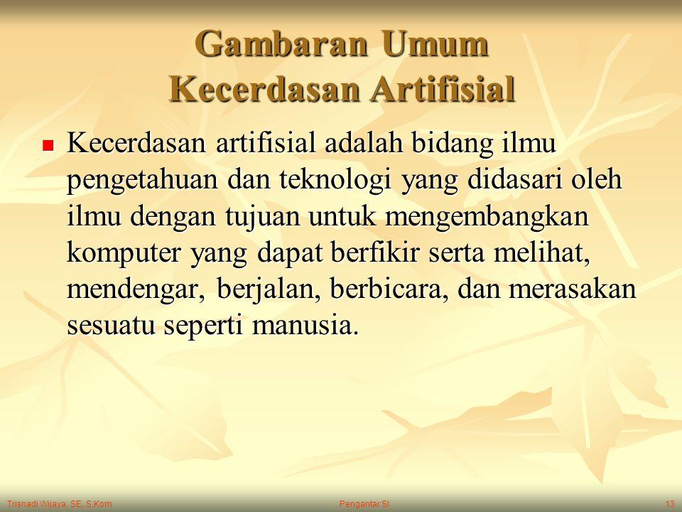 Trisnadi Wijaya, SE, S.Kom Pengantar SI13 Gambaran Umum Kecerdasan Artifisial Kecerdasan artifisial adalah bidang ilmu pengetahuan dan teknologi yang