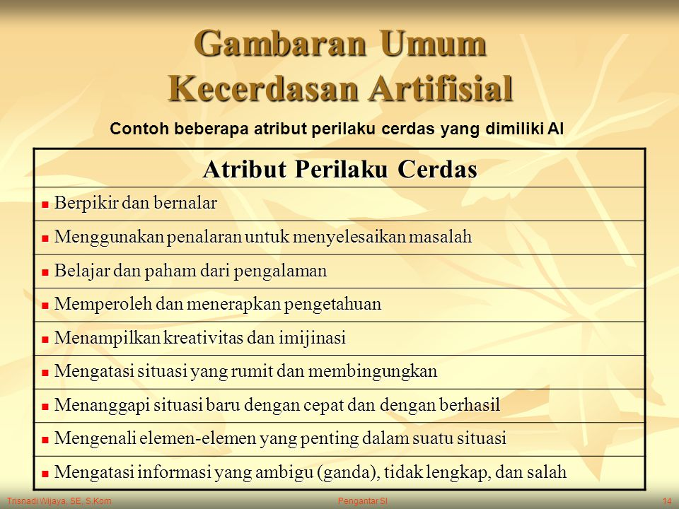 Trisnadi Wijaya, SE, S.Kom Pengantar SI14 Gambaran Umum Kecerdasan Artifisial Atribut Perilaku Cerdas Berpikir dan bernalar Berpikir dan bernalar Meng