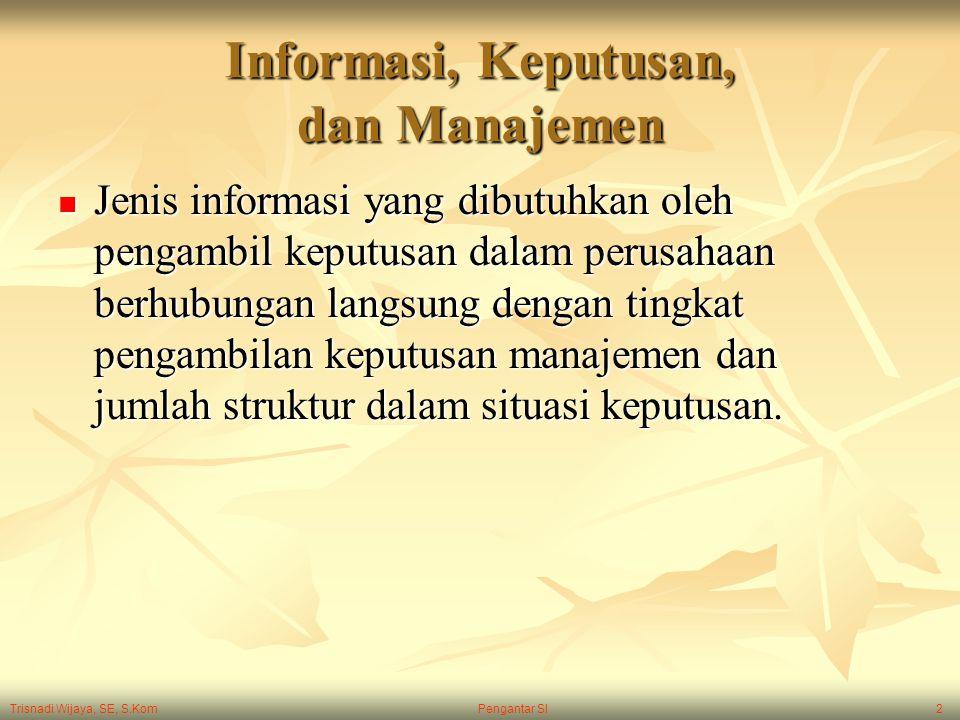 Trisnadi Wijaya, SE, S.Kom Pengantar SI2 Informasi, Keputusan, dan Manajemen Jenis informasi yang dibutuhkan oleh pengambil keputusan dalam perusahaan