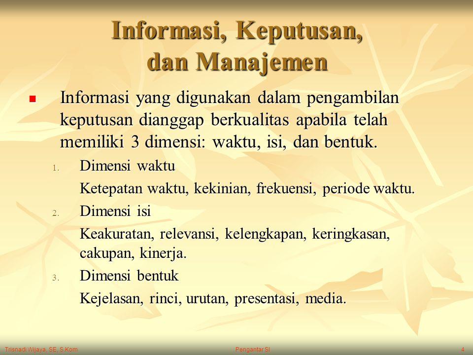 Trisnadi Wijaya, SE, S.Kom Pengantar SI4 Informasi, Keputusan, dan Manajemen Informasi yang digunakan dalam pengambilan keputusan dianggap berkualitas