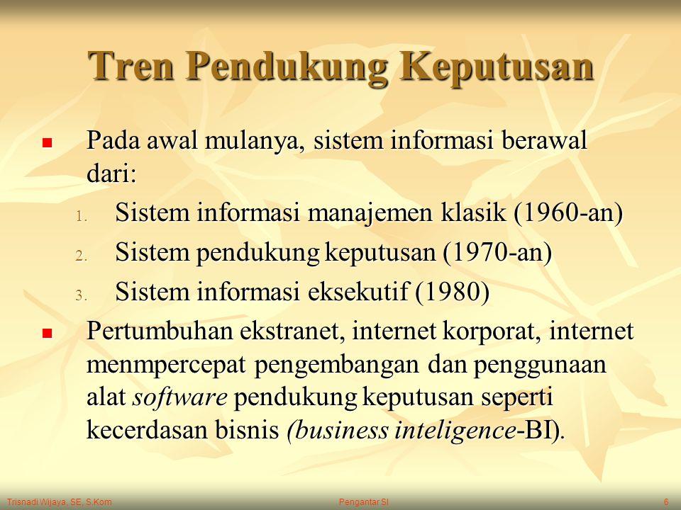 Trisnadi Wijaya, SE, S.Kom Pengantar SI6 Tren Pendukung Keputusan Pada awal mulanya, sistem informasi berawal dari: Pada awal mulanya, sistem informas