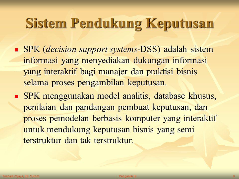 Trisnadi Wijaya, SE, S.Kom Pengantar SI8 Sistem Pendukung Keputusan SPK (decision support systems-DSS) adalah sistem informasi yang menyediakan dukung