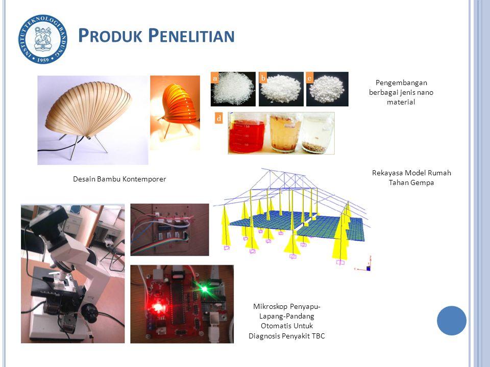 P RODUK P ENELITIAN Desain Bambu Kontemporer Pengembangan berbagai jenis nano material Rekayasa Model Rumah Tahan Gempa Mikroskop Penyapu- Lapang-Pandang Otomatis Untuk Diagnosis Penyakit TBC