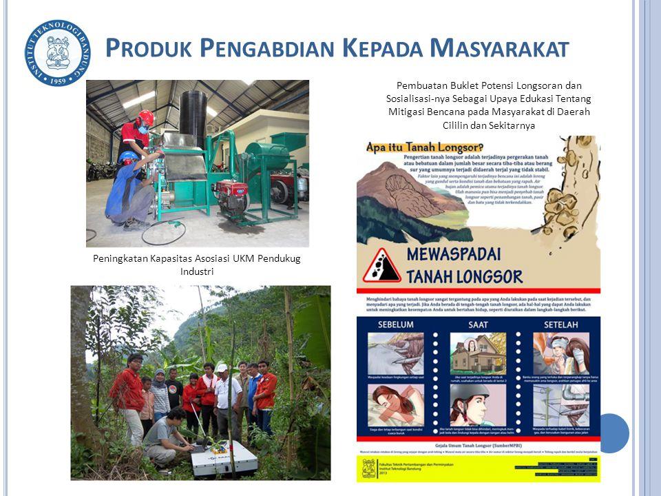 P RODUK P ENGABDIAN K EPADA M ASYARAKAT Peningkatan Kapasitas Asosiasi UKM Pendukug Industri Pembuatan Buklet Potensi Longsoran dan Sosialisasi-nya Sebagai Upaya Edukasi Tentang Mitigasi Bencana pada Masyarakat di Daerah Cililin dan Sekitarnya
