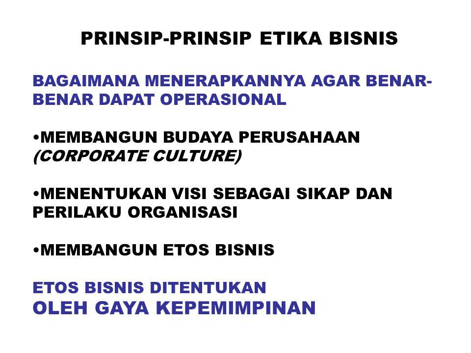 PRINSIP-PRINSIP ETIKA BISNIS BAGAIMANA MENERAPKANNYA AGAR BENAR- BENAR DAPAT OPERASIONAL MEMBANGUN BUDAYA PERUSAHAAN (CORPORATE CULTURE) MENENTUKAN VISI SEBAGAI SIKAP DAN PERILAKU ORGANISASI MEMBANGUN ETOS BISNIS ETOS BISNIS DITENTUKAN OLEH GAYA KEPEMIMPINAN