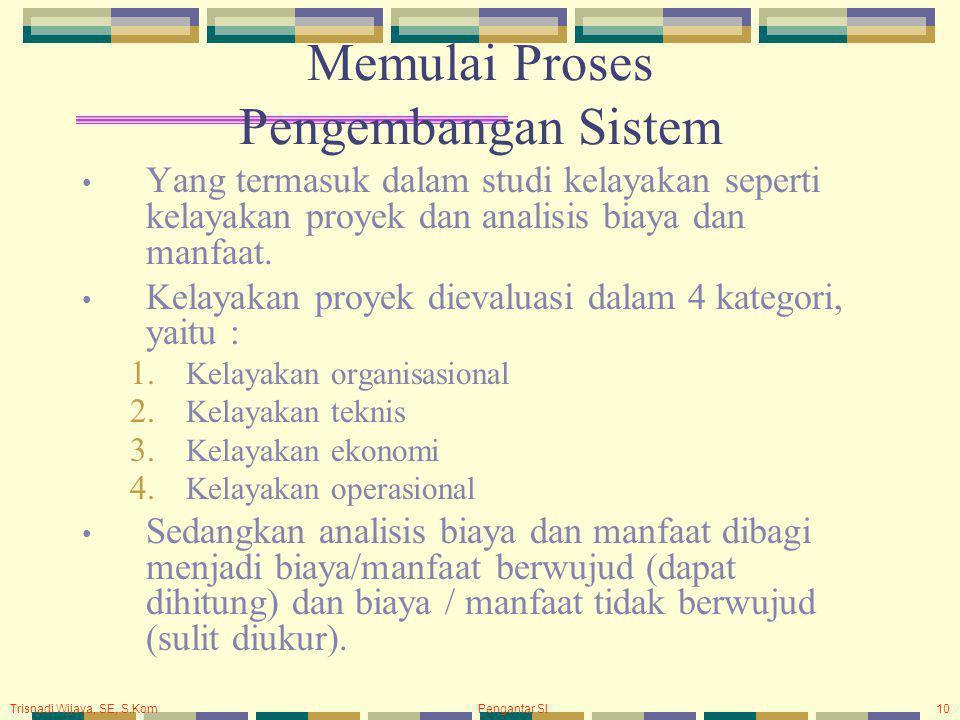 Trisnadi Wijaya, SE, S.Kom Pengantar SI10 Memulai Proses Pengembangan Sistem Yang termasuk dalam studi kelayakan seperti kelayakan proyek dan analisis