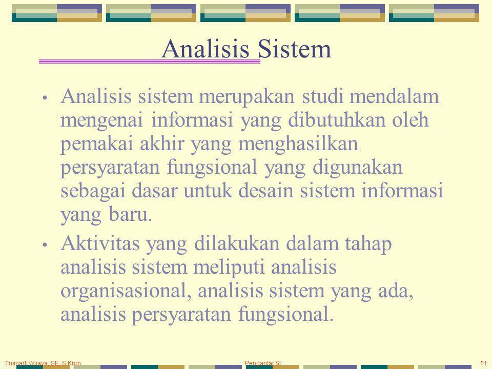 Trisnadi Wijaya, SE, S.Kom Pengantar SI11 Analisis Sistem Analisis sistem merupakan studi mendalam mengenai informasi yang dibutuhkan oleh pemakai akhir yang menghasilkan persyaratan fungsional yang digunakan sebagai dasar untuk desain sistem informasi yang baru.