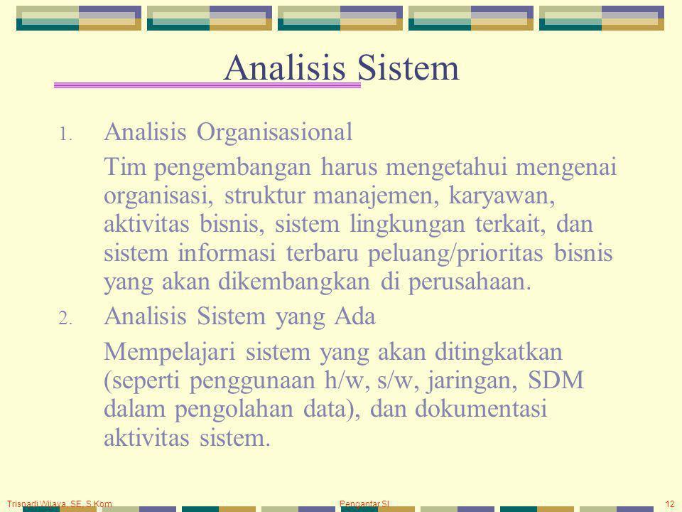 Trisnadi Wijaya, SE, S.Kom Pengantar SI12 Analisis Sistem 1. Analisis Organisasional Tim pengembangan harus mengetahui mengenai organisasi, struktur m