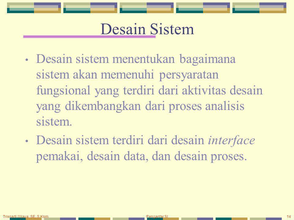 Trisnadi Wijaya, SE, S.Kom Pengantar SI14 Desain Sistem Desain sistem menentukan bagaimana sistem akan memenuhi persyaratan fungsional yang terdiri dari aktivitas desain yang dikembangkan dari proses analisis sistem.
