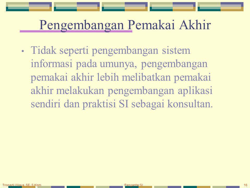 Trisnadi Wijaya, SE, S.Kom Pengantar SI16 Pengembangan Pemakai Akhir Tidak seperti pengembangan sistem informasi pada umunya, pengembangan pemakai akh