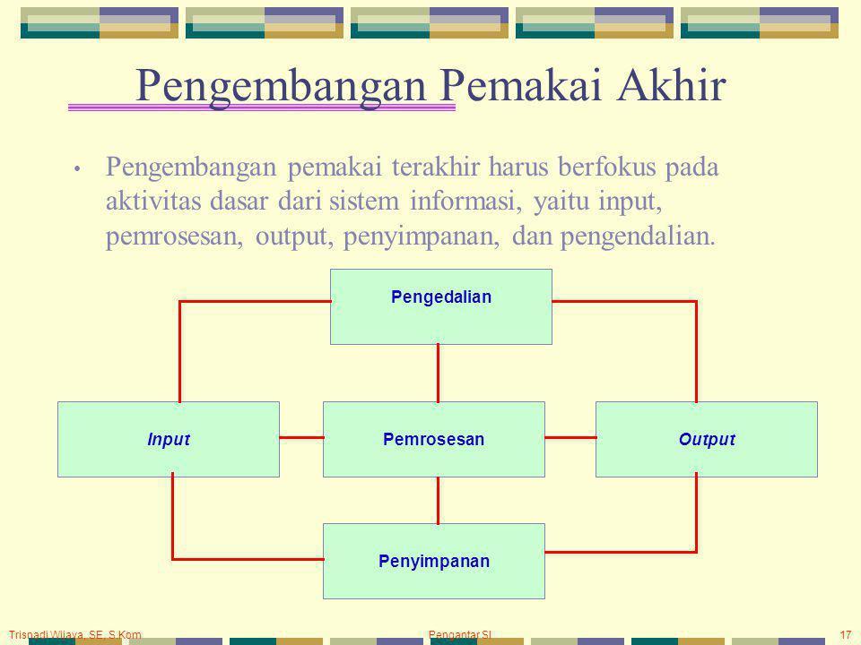 Trisnadi Wijaya, SE, S.Kom Pengantar SI17 Pengembangan Pemakai Akhir Pengembangan pemakai terakhir harus berfokus pada aktivitas dasar dari sistem informasi, yaitu input, pemrosesan, output, penyimpanan, dan pengendalian.