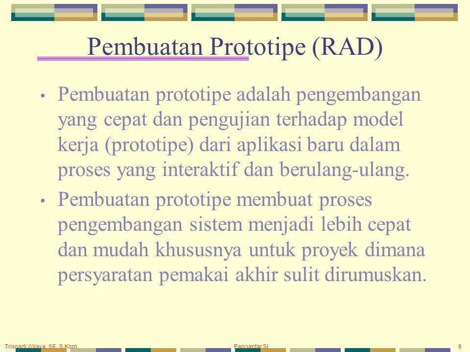 Trisnadi Wijaya, SE, S.Kom Pengantar SI6 Pembuatan Prototipe (RAD) Pembuatan prototipe adalah pengembangan yang cepat dan pengujian terhadap model kerja (prototipe) dari aplikasi baru dalam proses yang interaktif dan berulang-ulang.