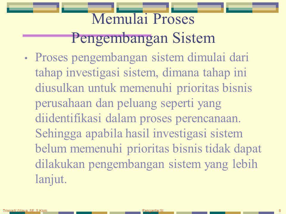 Trisnadi Wijaya, SE, S.Kom Pengantar SI8 Memulai Proses Pengembangan Sistem Proses pengembangan sistem dimulai dari tahap investigasi sistem, dimana tahap ini diusulkan untuk memenuhi prioritas bisnis perusahaan dan peluang seperti yang diidentifikasi dalam proses perencanaan.