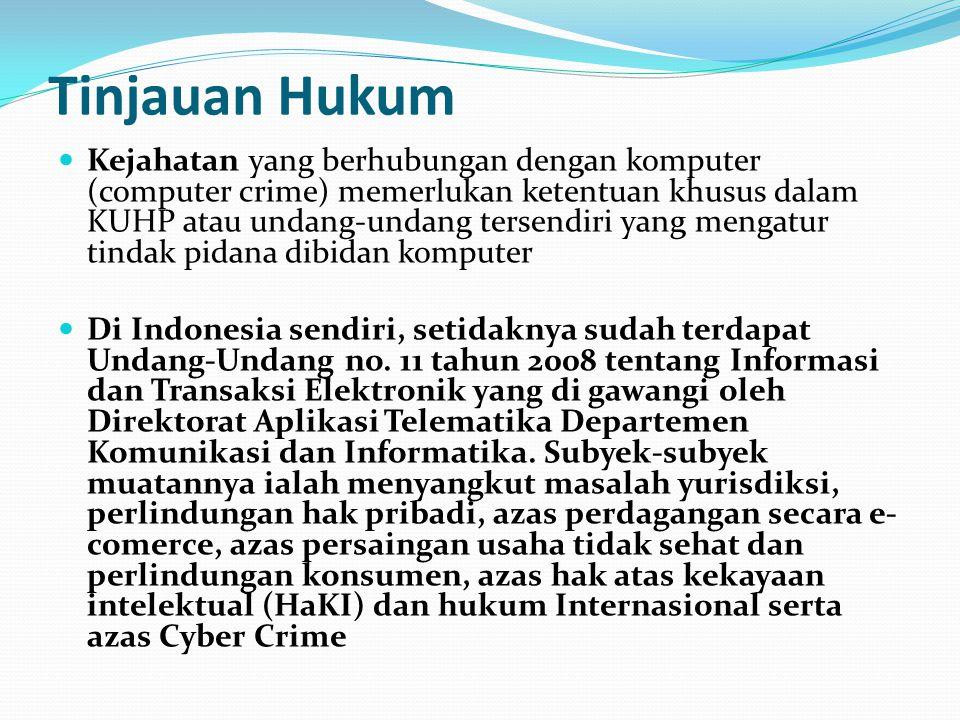 Tinjauan Hukum Kejahatan yang berhubungan dengan komputer (computer crime) memerlukan ketentuan khusus dalam KUHP atau undang-undang tersendiri yang m