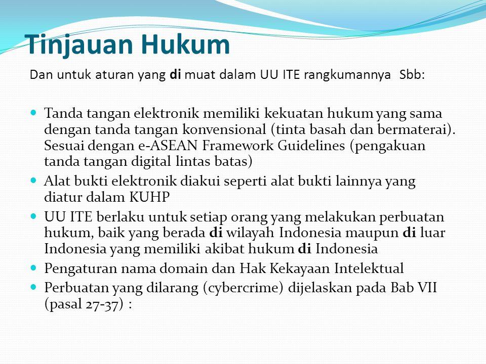 Tinjauan Hukum Dan untuk aturan yang di muat dalam UU ITE rangkumannya Sbb: Tanda tangan elektronik memiliki kekuatan hukum yang sama dengan tanda tan