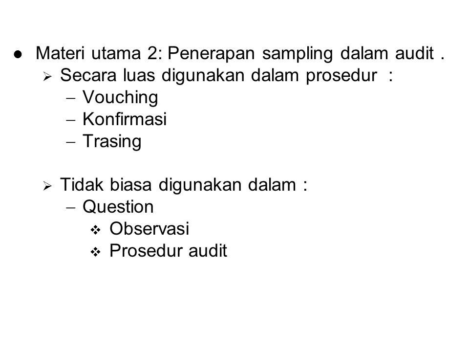 Materi utama 2: Penerapan sampling dalam audit.