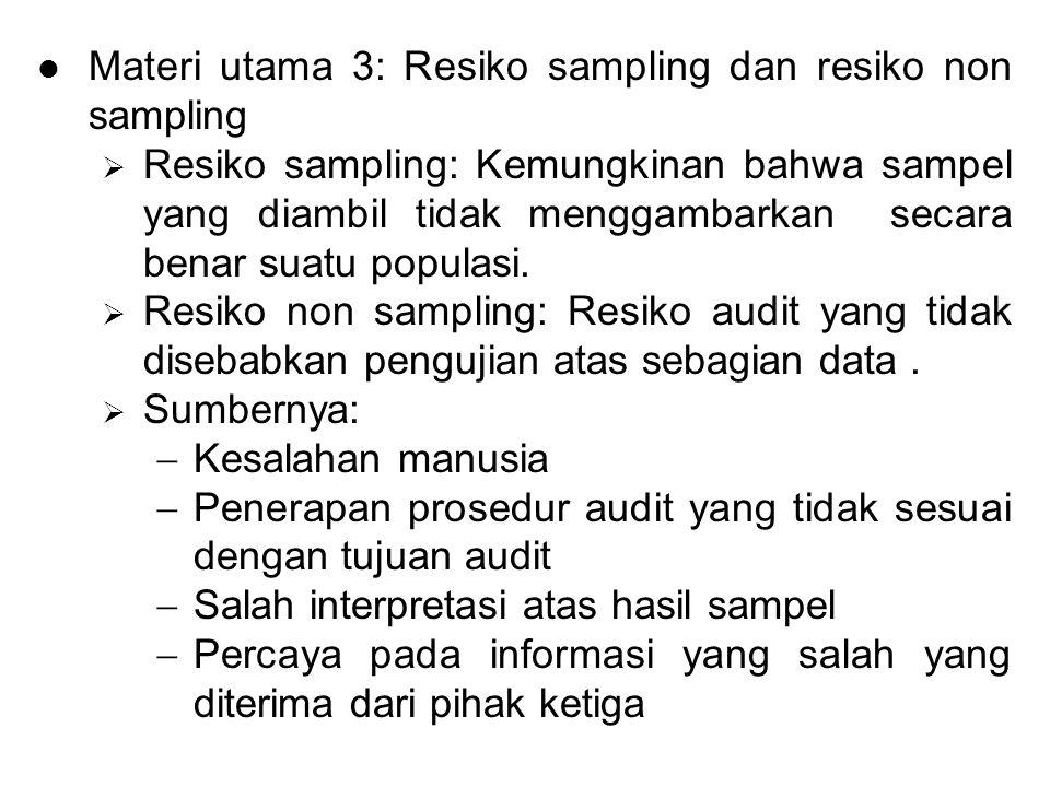 Materi utama 3: Resiko sampling dan resiko non sampling  Resiko sampling: Kemungkinan bahwa sampel yang diambil tidak menggambarkan secara benar suatu populasi.