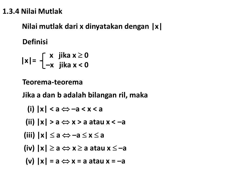 1.3.4 Nilai Mutlak Nilai mutlak dari x dinyatakan dengan |x| Definisi |x|= x jika x  0 –x jika x < 0 Teorema-teorema Jika a dan b adalah bilangan ril, maka (i) |x| < a  –a < x < a (ii) |x| > a  x > a atau x < –a (iii) |x|  a  –a  x  a (iv) |x|  a  x  a atau x  –a (v) |x| = a  x = a atau x = –a
