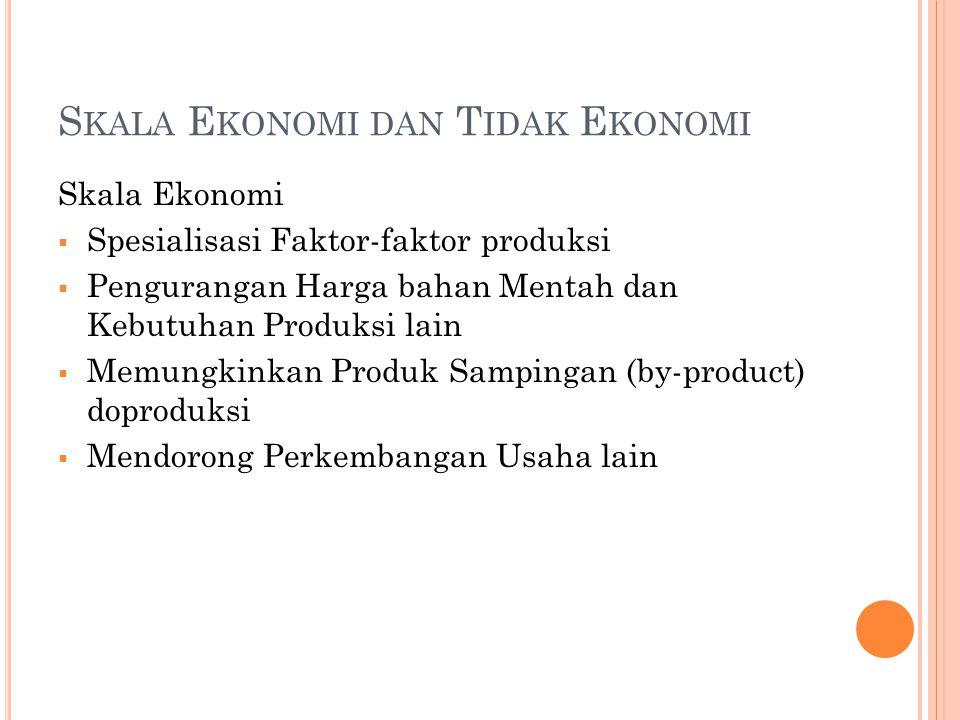 S KALA E KONOMI DAN T IDAK E KONOMI Skala Ekonomi  Spesialisasi Faktor-faktor produksi  Pengurangan Harga bahan Mentah dan Kebutuhan Produksi lain  Memungkinkan Produk Sampingan (by-product) doproduksi  Mendorong Perkembangan Usaha lain