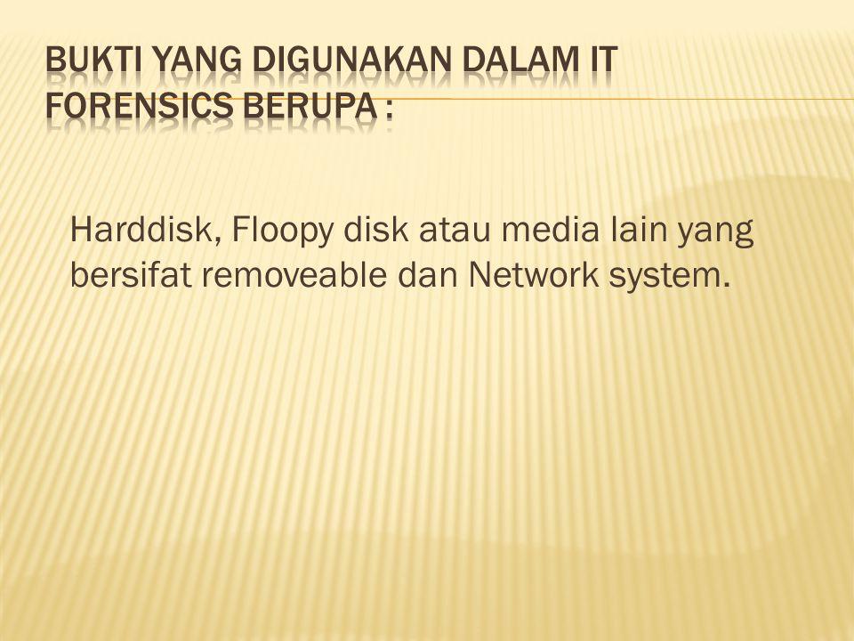 Harddisk, Floopy disk atau media lain yang bersifat removeable dan Network system.