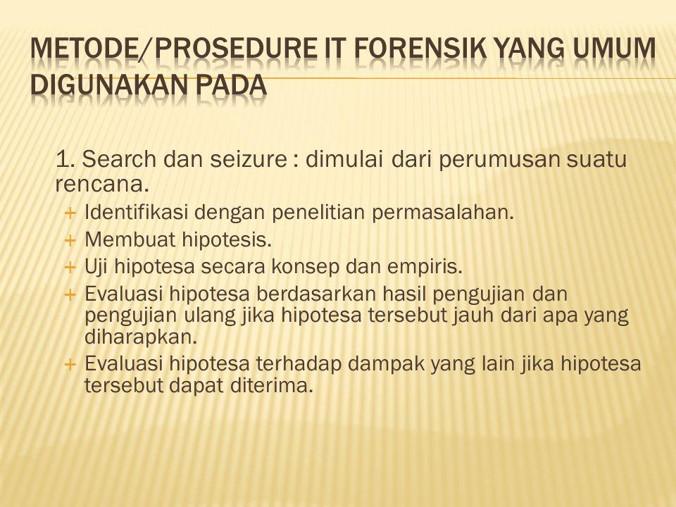 1. Search dan seizure : dimulai dari perumusan suatu rencana.  Identifikasi dengan penelitian permasalahan.  Membuat hipotesis.  Uji hipotesa secar