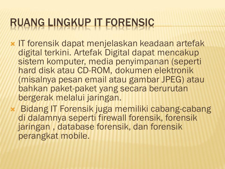  IT forensik dapat menjelaskan keadaan artefak digital terkini. Artefak Digital dapat mencakup sistem komputer, media penyimpanan (seperti hard disk