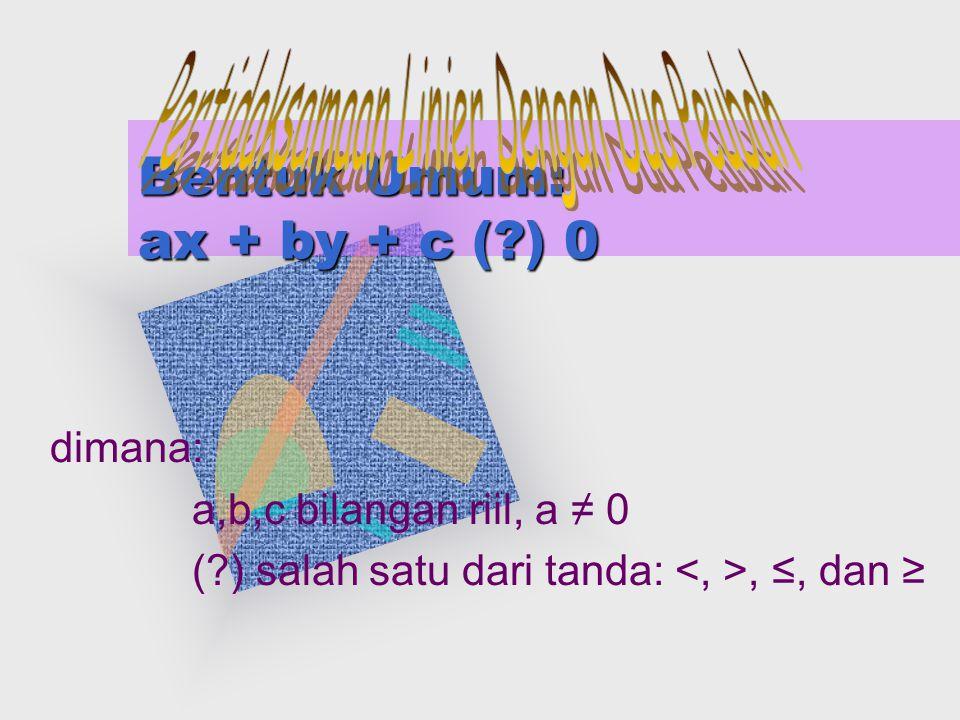 Bentuk Umum: ax + by + c (?) 0 dimana: a,b,c bilangan riil, a ≠ 0 (?) salah satu dari tanda:, ≤, dan ≥