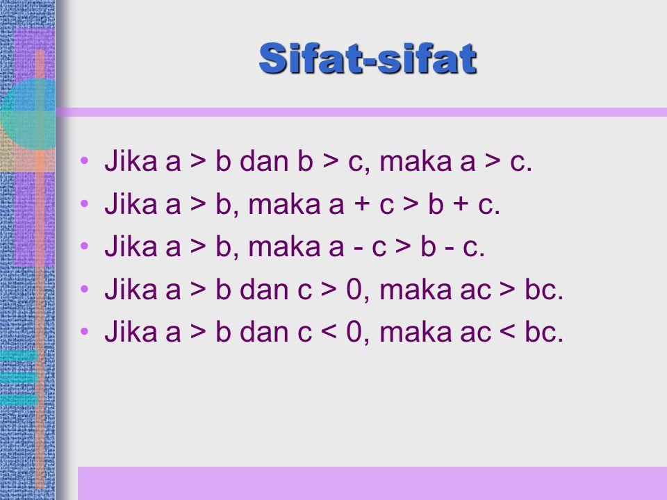 Sifat Pertidaksamaan Lainnya ac > 0, jika a > 0 dan c > 0 atau jika a < 0 dan c < 0.