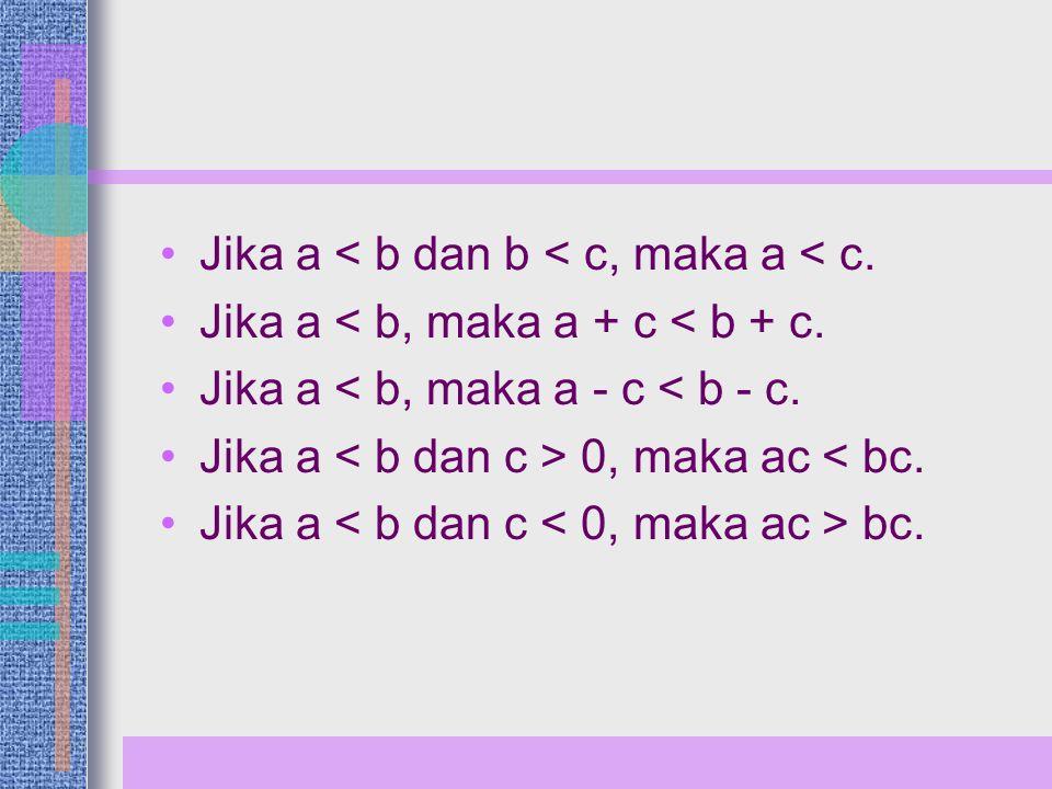 Teorema-teorema l x l -a dan x < a l x l > a ↔ x > a atau x < -a l x l ≤ a ↔ -a ≤ x ≤ a atau x ≥ -a dan x ≤ a l x l ≥ a ↔ x ≥ a atau x ≤ -a l x l = a ↔ x = a atau x = -a l ab l = l a l.