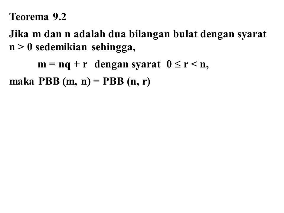 Teorema 9.2 Jika m dan n adalah dua bilangan bulat dengan syarat n > 0 sedemikian sehingga, m = nq + rdengan syarat 0  r < n, maka PBB (m, n) = PBB (n, r)