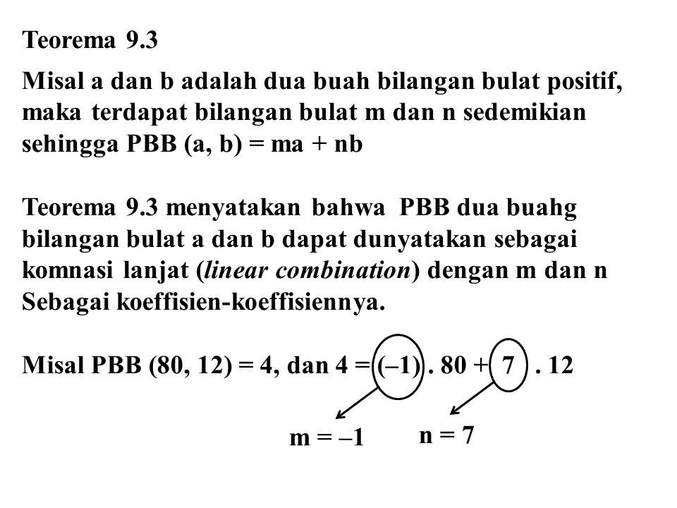 Teorema 9.3 Misal a dan b adalah dua buah bilangan bulat positif, maka terdapat bilangan bulat m dan n sedemikian sehingga PBB (a, b) = ma + nb Teorema 9.3 menyatakan bahwa PBB dua buahg bilangan bulat a dan b dapat dunyatakan sebagai komnasi lanjat (linear combination) dengan m dan n Sebagai koeffisien-koeffisiennya.