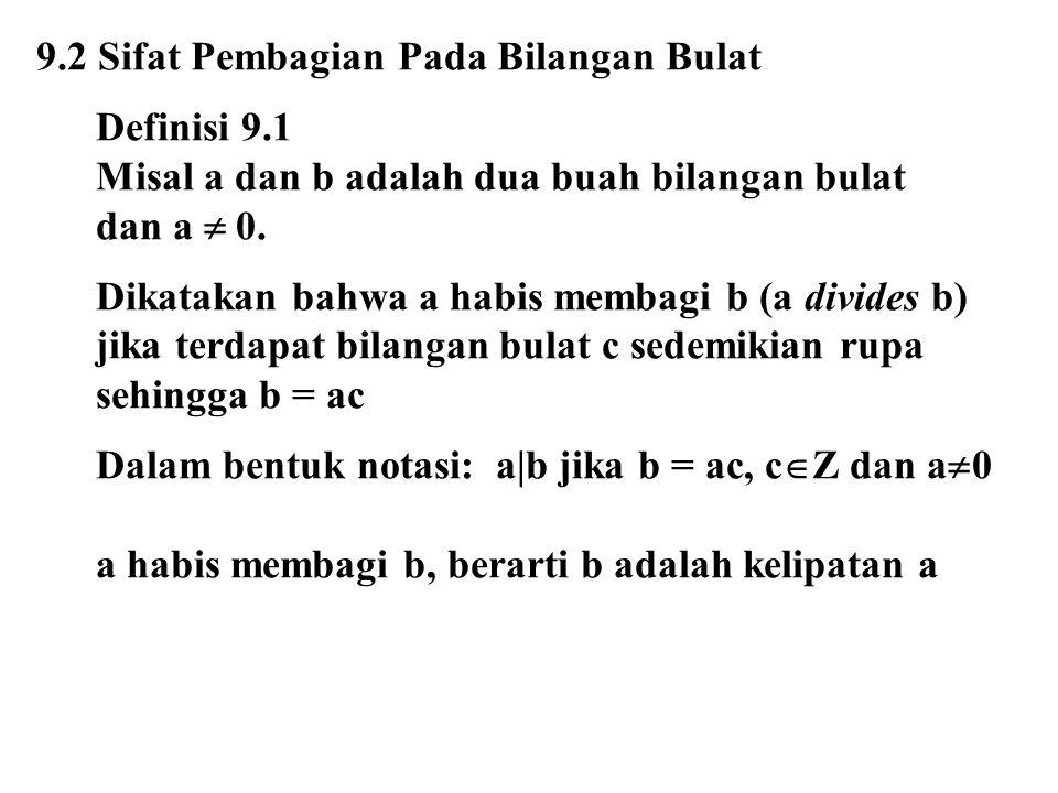 9.2 Sifat Pembagian Pada Bilangan Bulat Definisi 9.1 Misal a dan b adalah dua buah bilangan bulat dan a  0. Dikatakan bahwa a habis membagi b (a divi