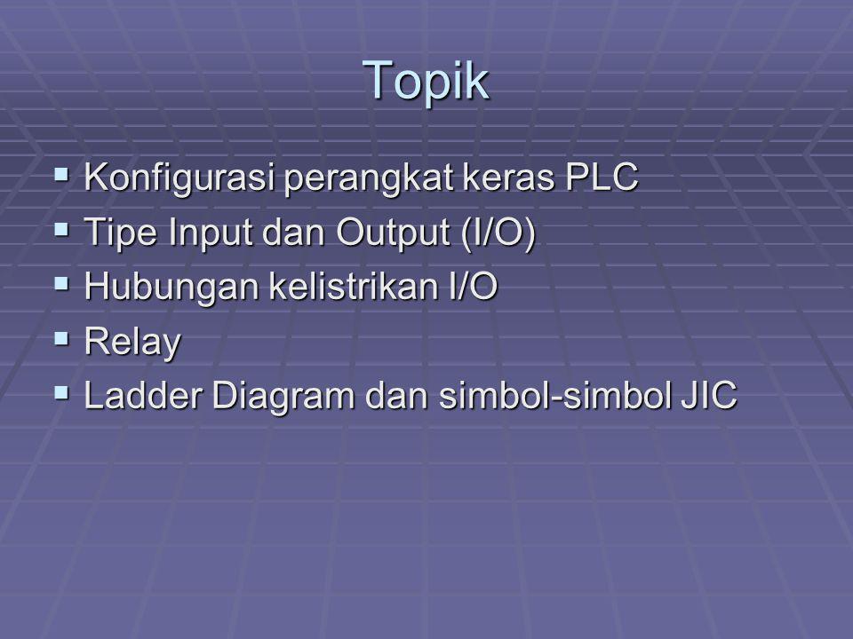 Topik  Konfigurasi perangkat keras PLC  Tipe Input dan Output (I/O)  Hubungan kelistrikan I/O  Relay  Ladder Diagram dan simbol-simbol JIC