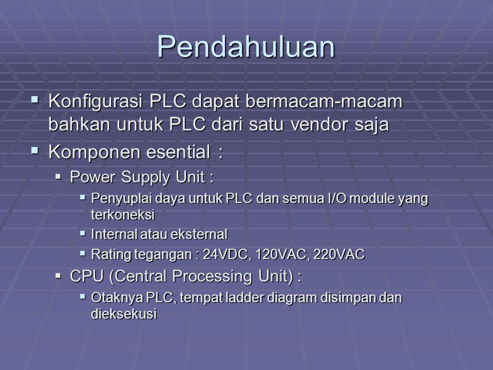 Pendahuluan  Konfigurasi PLC dapat bermacam-macam bahkan untuk PLC dari satu vendor saja  Komponen esential :  Power Supply Unit :  Penyuplai daya