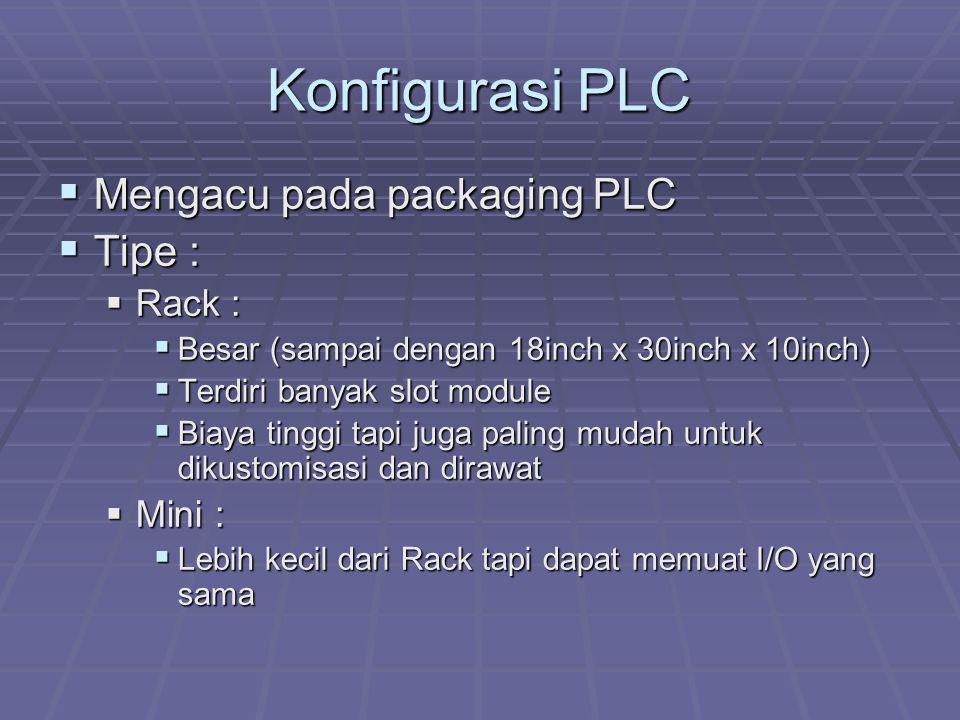 Konfigurasi PLC  Mengacu pada packaging PLC  Tipe :  Rack :  Besar (sampai dengan 18inch x 30inch x 10inch)  Terdiri banyak slot module  Biaya t