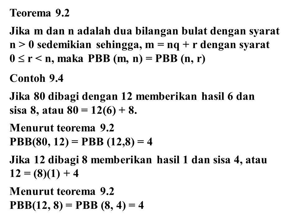 Teorema 9.2 Jika m dan n adalah dua bilangan bulat dengan syarat n > 0 sedemikian sehingga, m = nq + r dengan syarat 0  r < n, maka PBB (m, n) = PBB