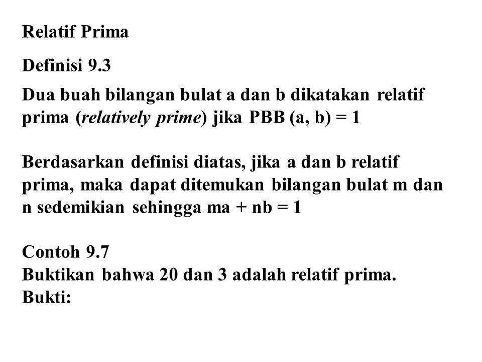 Relatif Prima Definisi 9.3 Dua buah bilangan bulat a dan b dikatakan relatif prima (relatively prime) jika PBB (a, b) = 1 Berdasarkan definisi diatas,