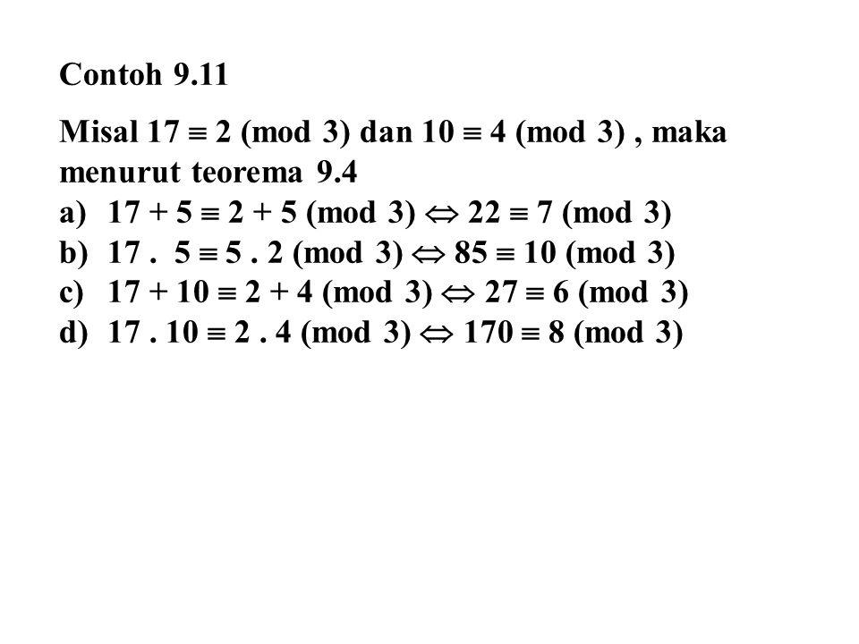 Contoh 9.11 Misal 17  2 (mod 3) dan 10  4 (mod 3), maka menurut teorema 9.4 a)17 + 5  2 + 5 (mod 3)  22  7 (mod 3) b)17. 5  5. 2 (mod 3)  85 