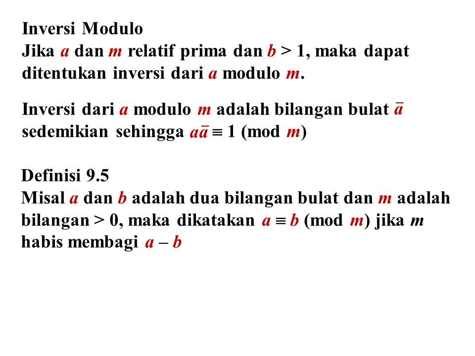 Definisi 9.5 Misal a dan b adalah dua bilangan bulat dan m adalah bilangan > 0, maka dikatakan a  b (mod m) jika m habis membagi a – b Inversi Modulo