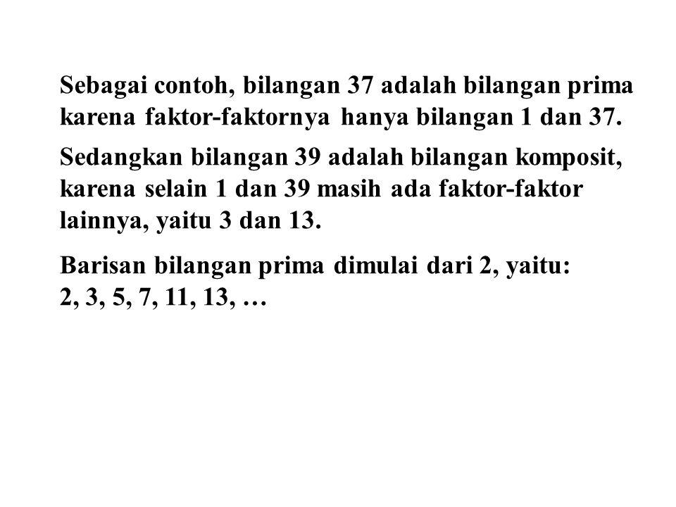 Sebagai contoh, bilangan 37 adalah bilangan prima karena faktor-faktornya hanya bilangan 1 dan 37. Sedangkan bilangan 39 adalah bilangan komposit, kar