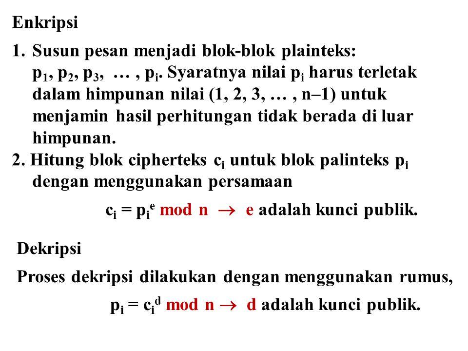 Enkripsi 1.Susun pesan menjadi blok-blok plainteks: p 1, p 2, p 3, …, p i. Syaratnya nilai p i harus terletak dalam himpunan nilai (1, 2, 3, …, n–1) u