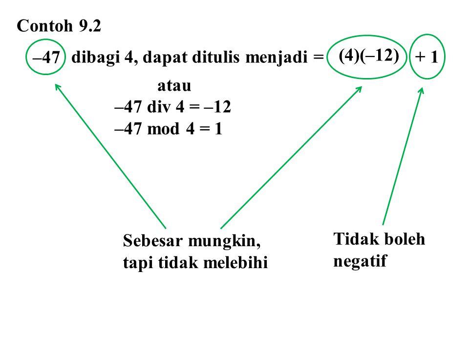 Tidak boleh negatif Contoh 9.2 dibagi 4, dapat ditulis menjadi = + 1 atau –47 div 4 = –12 –47 mod 4 = 1 –47 (4)(–12) Sebesar mungkin, tapi tidak meleb