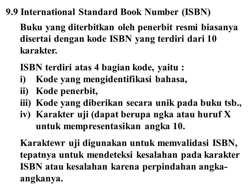 9.9 International Standard Book Number (ISBN) Buku yang diterbitkan oleh penerbit resmi biasanya disertai dengan kode ISBN yang terdiri dari 10 karakt