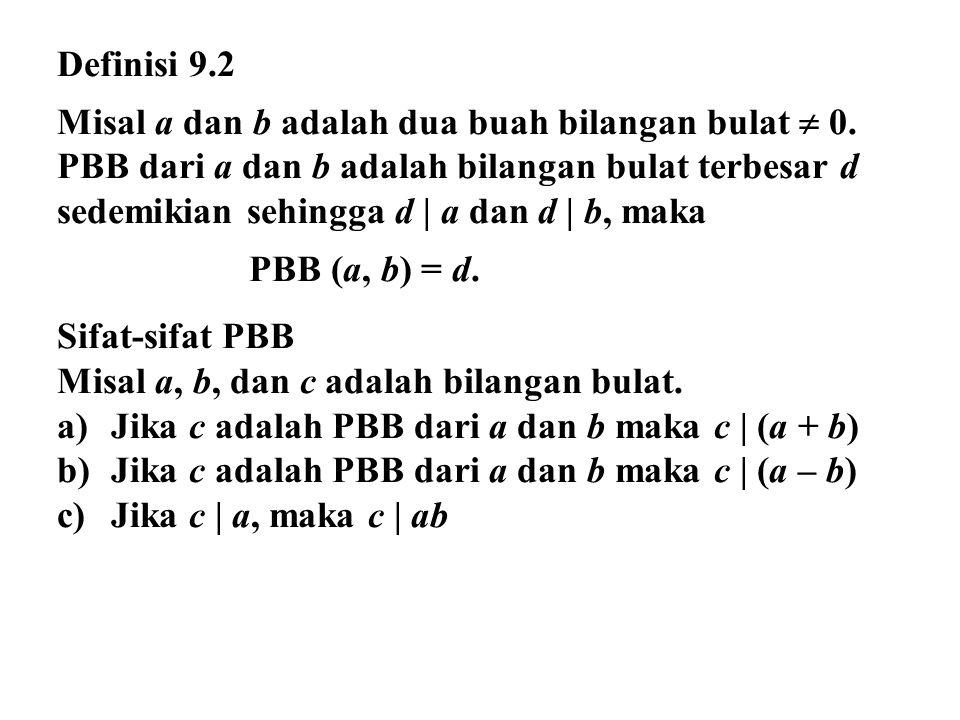 Teorema 9.2 Jika m dan n adalah dua bilangan bulat dengan syarat n > 0 sedemikian sehingga, m = nq + r dengan syarat 0  r < n, maka PBB (m, n) = PBB (n, r) Contoh 9.4 Jika 80 dibagi dengan 12 memberikan hasil 6 dan sisa 8, atau 80 = 12(6) + 8.